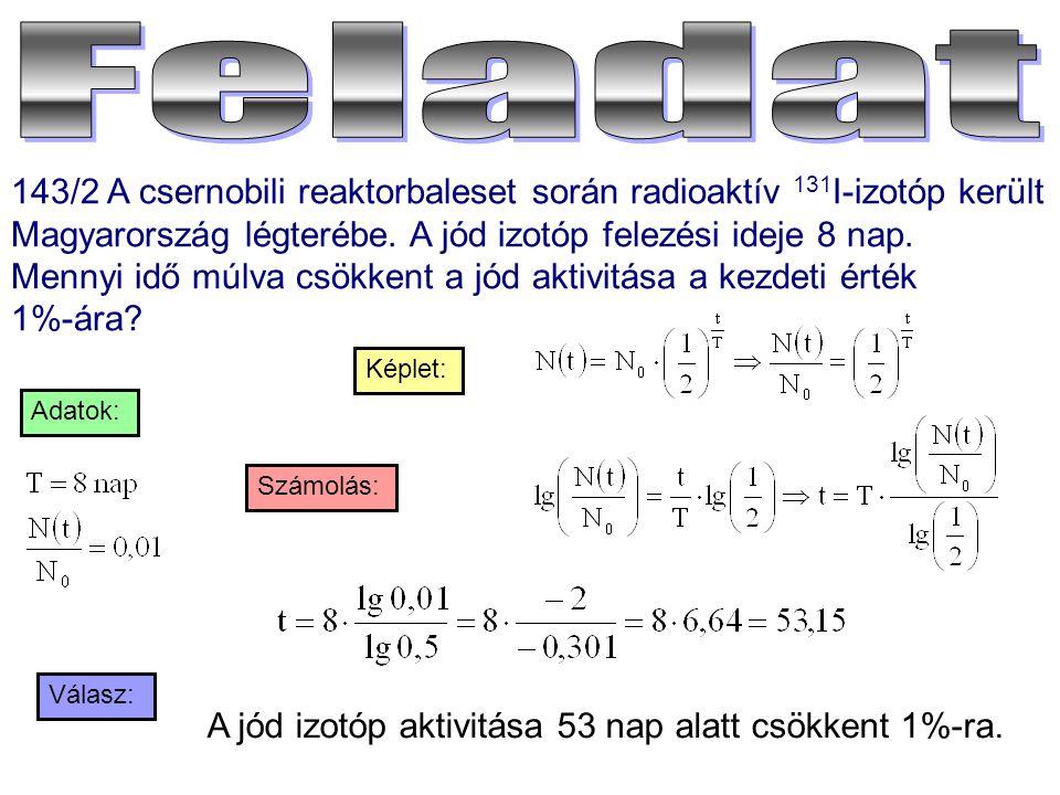 143/2 A csernobili reaktorbaleset során radioaktív 131 I-izotóp került Magyarország légterébe. A jód izotóp felezési ideje 8 nap. Mennyi idő múlva csö