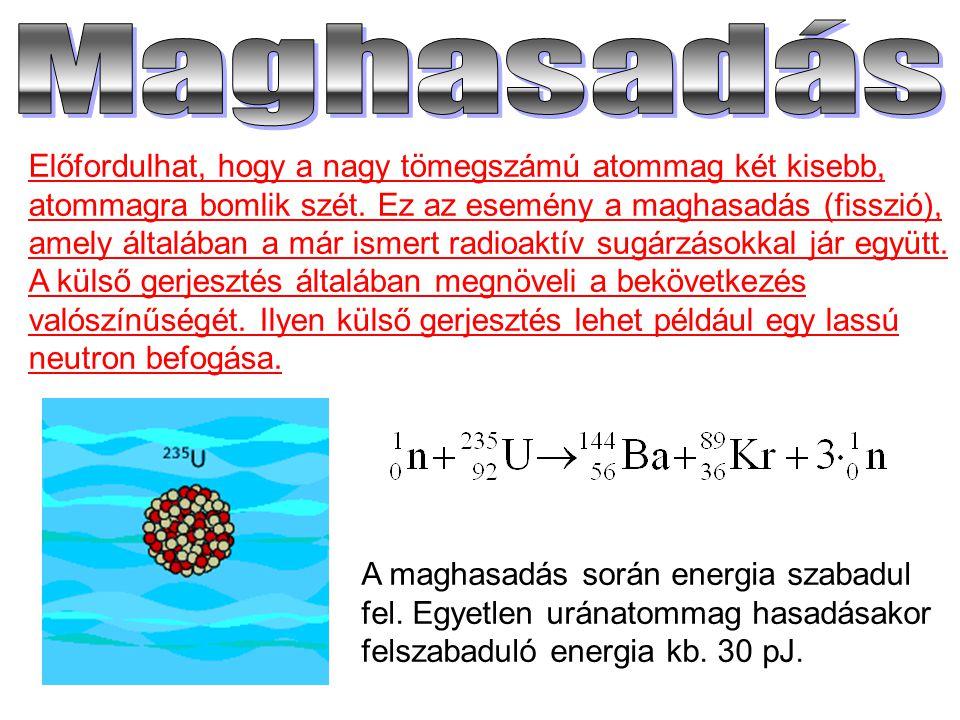 Előfordulhat, hogy a nagy tömegszámú atommag két kisebb, atommagra bomlik szét. Ez az esemény a maghasadás (fisszió), amely általában a már ismert rad
