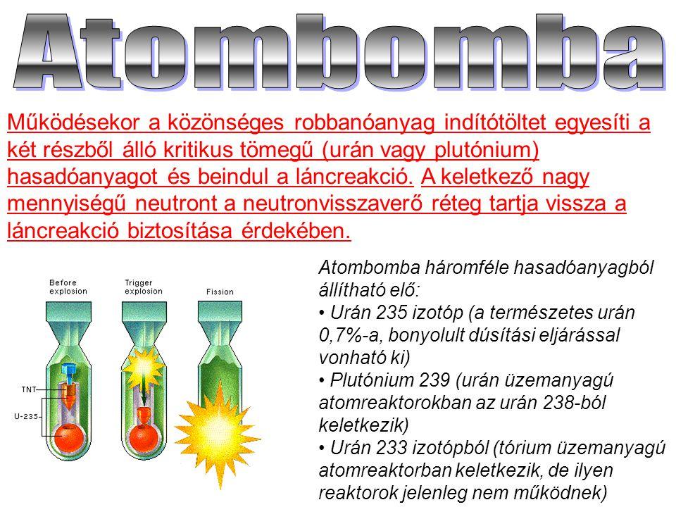 Atombomba háromféle hasadóanyagból állítható elő: Urán 235 izotóp (a természetes urán 0,7%-a, bonyolult dúsítási eljárással vonható ki) Plutónium 239