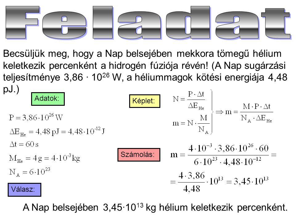 Becsüljük meg, hogy a Nap belsejében mekkora tömegű hélium keletkezik percenként a hidrogén fúziója révén! (A Nap sugárzási teljesítménye 3,86 · 10 26