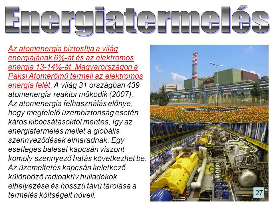 Az atomenergia biztosítja a világ energiájának 6%-át és az elektromos energia 13-14%-át. Magyarországon a Paksi Atomerőmű termeli az elektromos energi