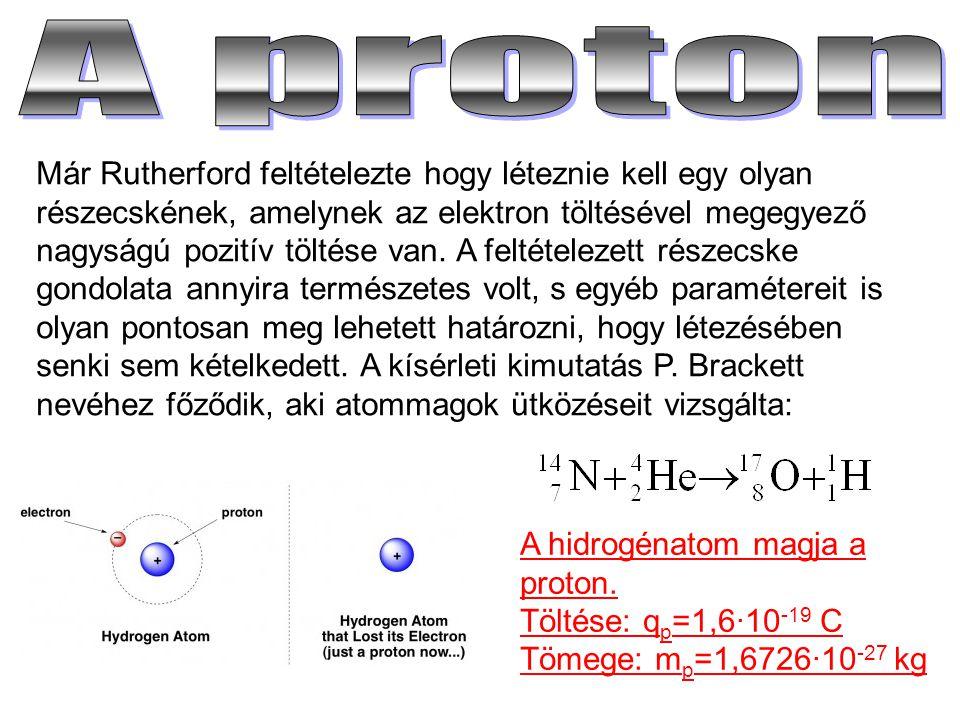 Már Rutherford feltételezte hogy léteznie kell egy olyan részecskének, amelynek az elektron töltésével megegyező nagyságú pozitív töltése van. A felté