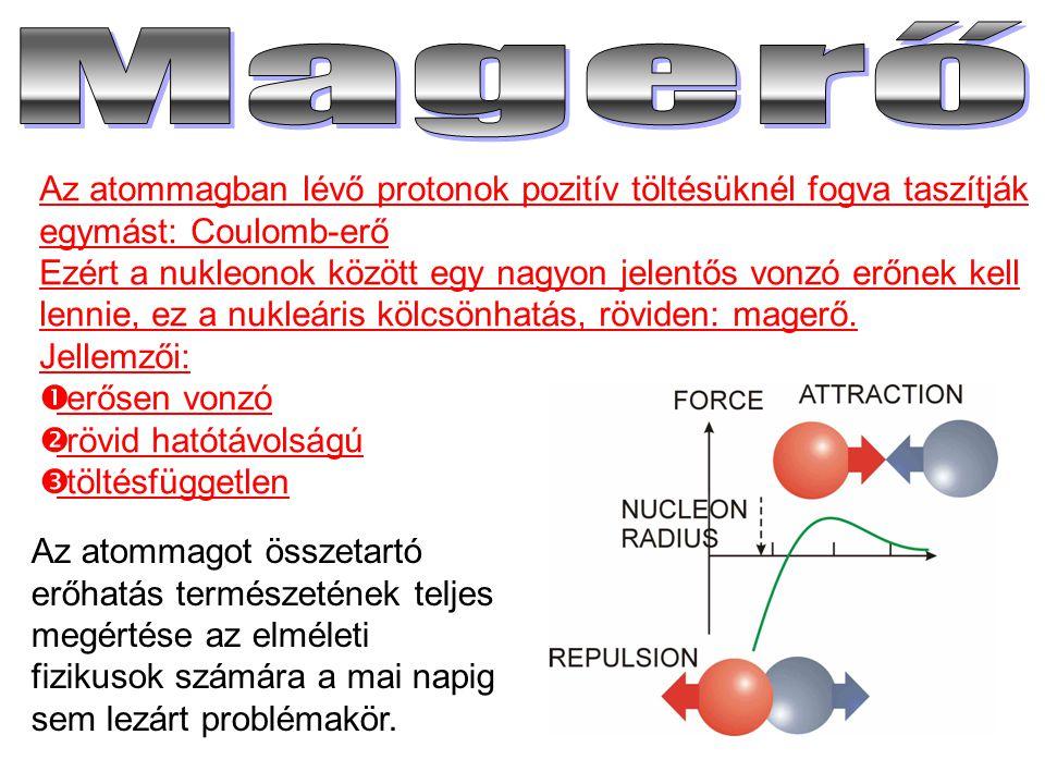 Az atommagban lévő protonok pozitív töltésüknél fogva taszítják egymást: Coulomb-erő Ezért a nukleonok között egy nagyon jelentős vonzó erőnek kell le