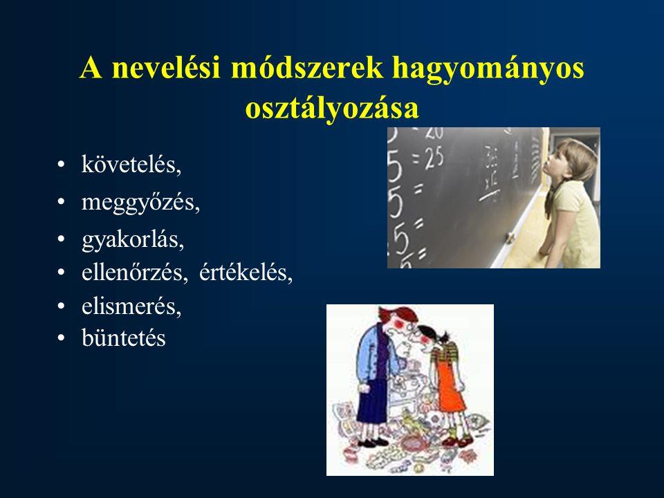 A nevelési módszerek hagyományos osztályozása követelés, meggyőzés, gyakorlás, ellenőrzés, értékelés, elismerés, büntetés