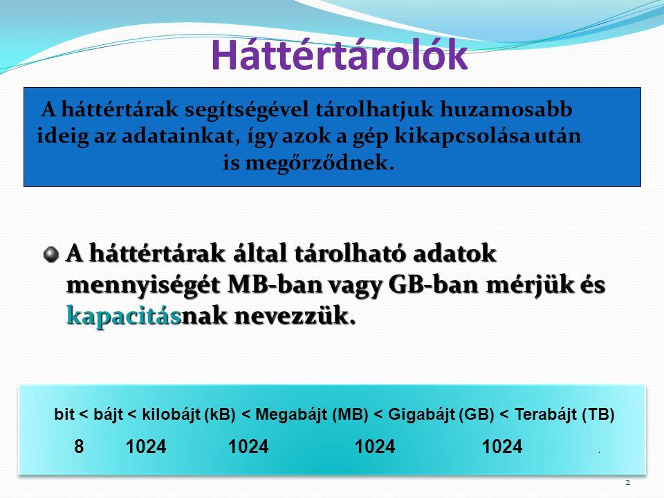 3 Háttértárolók típusai  Merevlemez, más néven winchester, vagy HDD – Hard Disk Drive) 160 GB – 8 TB Mágneses háttértárakOptikai háttértárak  Hajlékonylemez (floppy) (Floppy-meghajtó egység, FDD – Floppy Disk Drive) 1,44 MB  CD-ROM (Compact Disc) 650 – 800 MB  DVD-lemez (Digital Versatile Disc) 4,7 – 17,4 GB