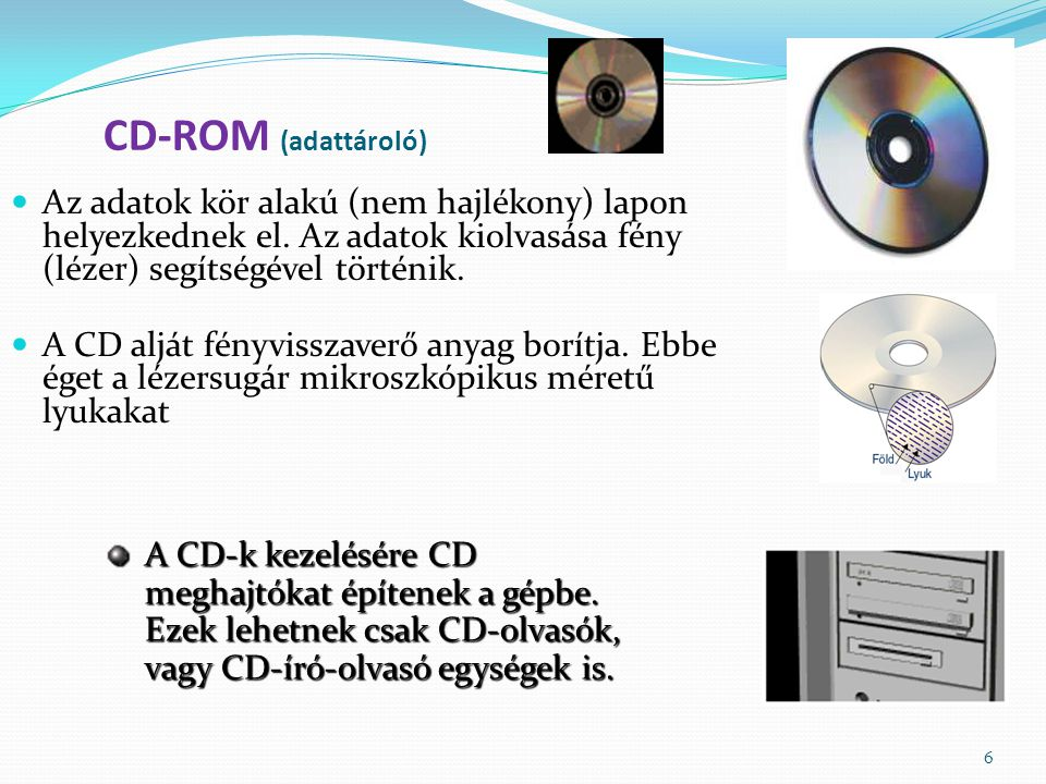 6 CD-ROM (adattároló) Az adatok kör alakú (nem hajlékony) lapon helyezkednek el.