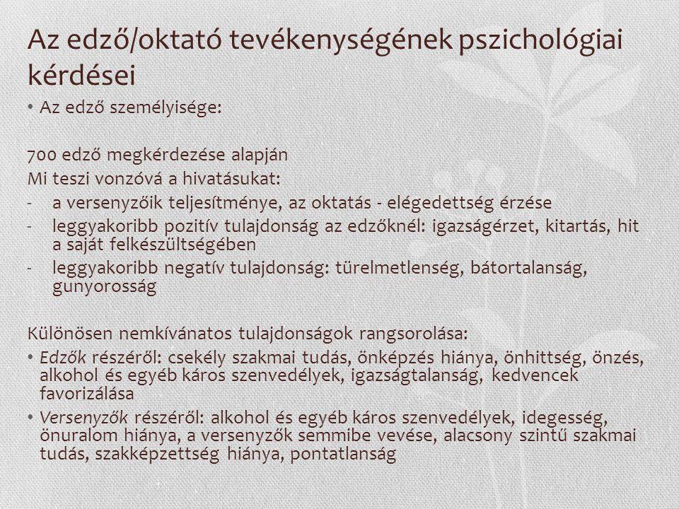 Az edző/oktató tevékenységének pszichológiai kérdései Az edző személyisége: 700 edző megkérdezése alapján Mi teszi vonzóvá a hivatásukat: -a versenyző