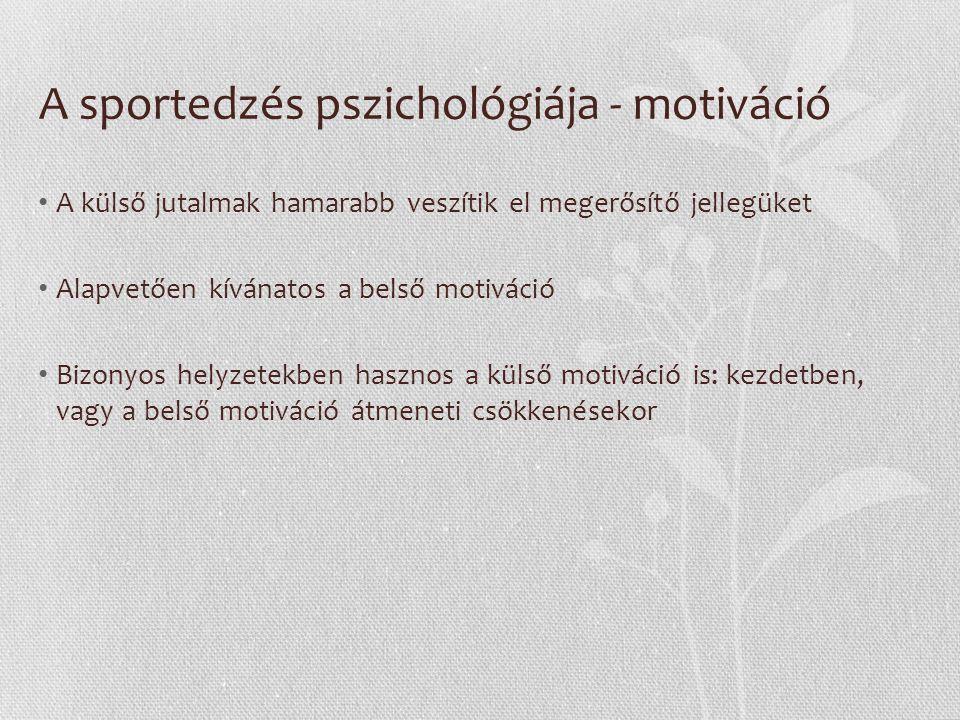 A versenyzés pszichológiai kérdései A versenyszorongás Szomatikus szorongás: Fordított U alakú görbe, azaz Túl alacsony és túl magas feszültség csökkenti a teljesítményt Kognitív szorongás: Fordított kapcsolat, azaz Minél nagyobb a kognitív szorongás, annál rosszabb lesz a versenyteljesítmény Önbizalom: Fordított kapcsolat a szorongás és az önbizalom között, azaz Ha az önbizalom nő, a szorongás csökken