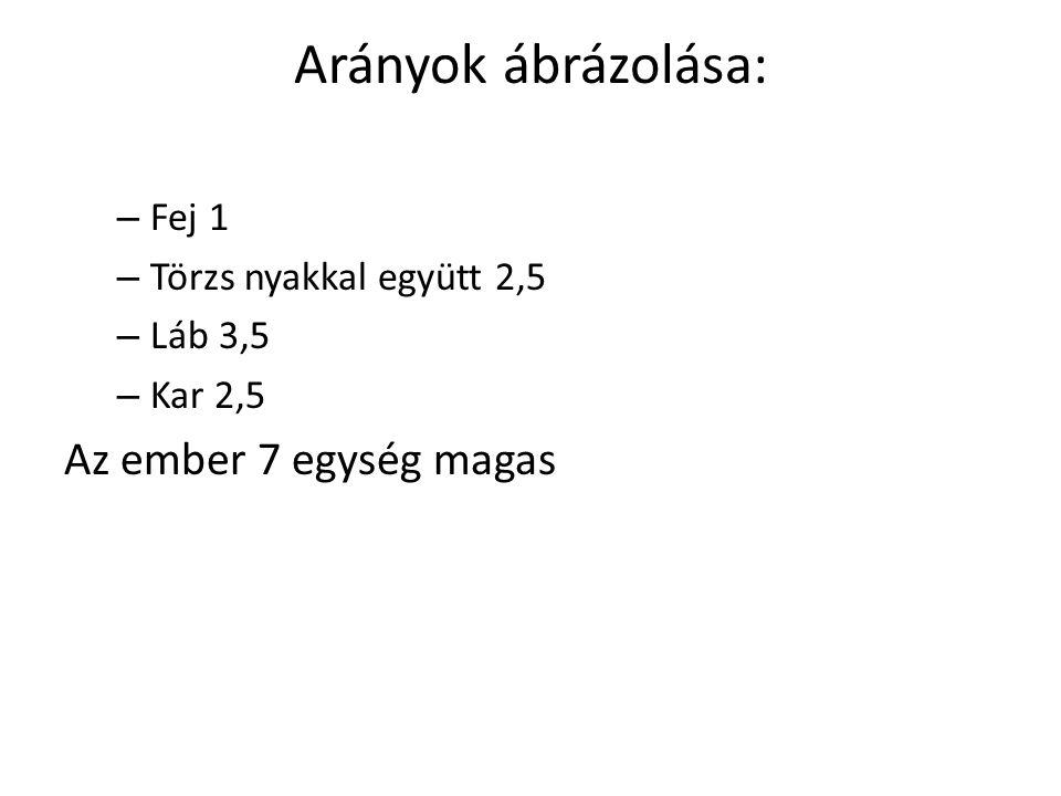 Arányok ábrázolása: – Fej 1 – Törzs nyakkal együtt 2,5 – Láb 3,5 – Kar 2,5 Az ember 7 egység magas