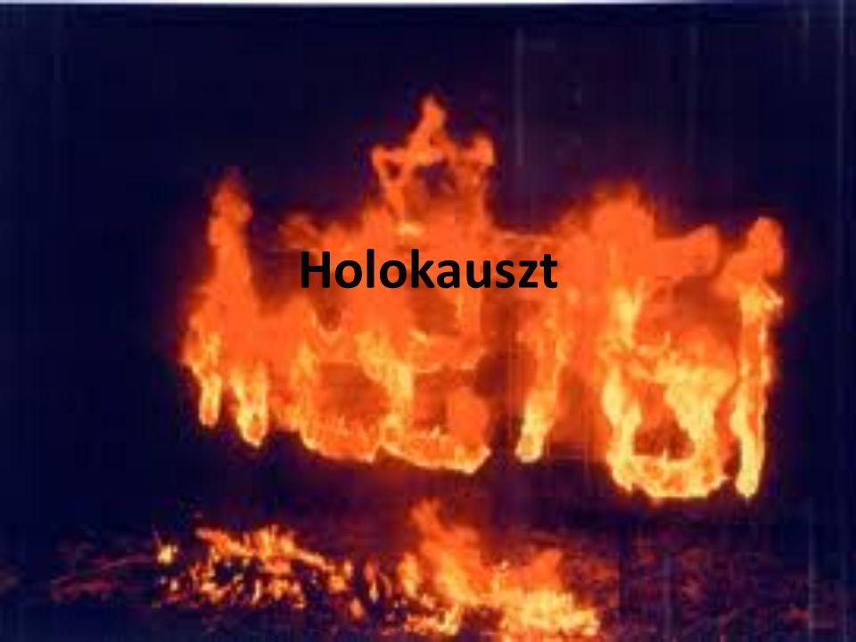 """Holokauszt jelentése Görög szó: """"égő tűzáldozat , """"egészen égő áldozat ; """"ami tűzben pusztul el náci Németországnak a zsidóság megsemmisítésére irányuló, 1933-1945 között végrehajtott programja."""