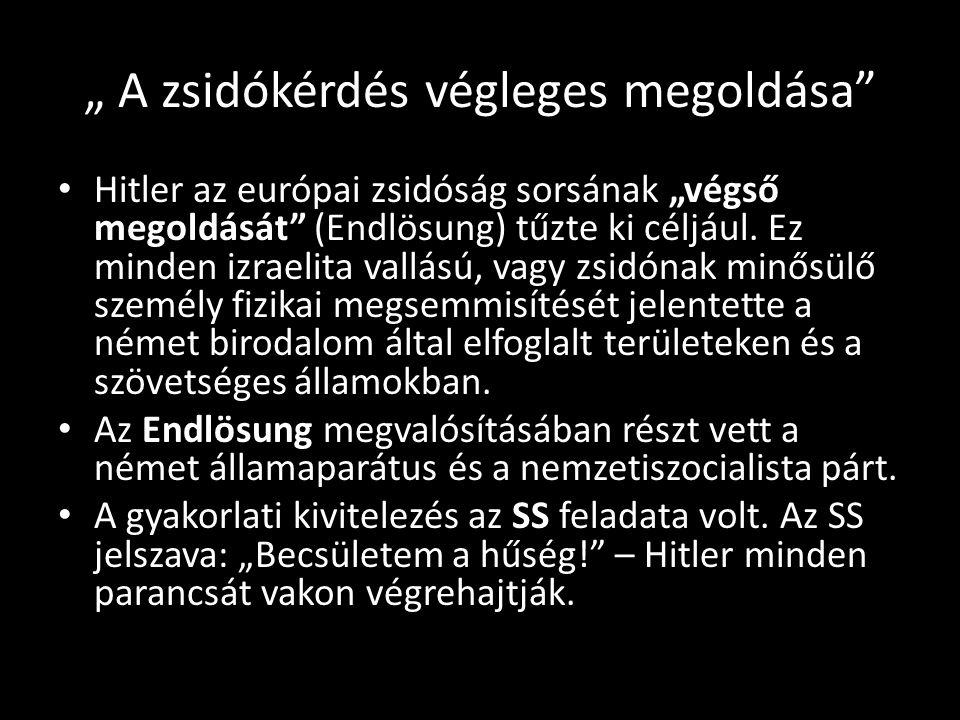 Zsidó holokauszt Magyarországon 1941 és 1945 között több mint 400 000, a mai országterületről 200 000 magyar zsidó esett áldozatul a munkaszolgálatnak, a német nemzetiszocialisták és magyarországi szövetségeseik által megszervezett deportálásoknak, a magyar hatóságok brutalitásának, a halálmeneteknek, az auschwitzi gázosításoknak, a tömegkivégzéseknek, a koncentrációs táborok szörnyű körülményeinek.