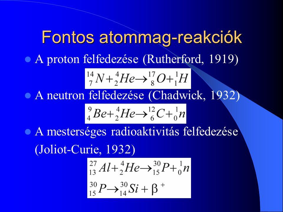 Fontos atommag-reakciók A proton felfedezése (Rutherford, 1919) A neutron felfedezése (Chadwick, 1932) A mesterséges radioaktivitás felfedezése (Jolio