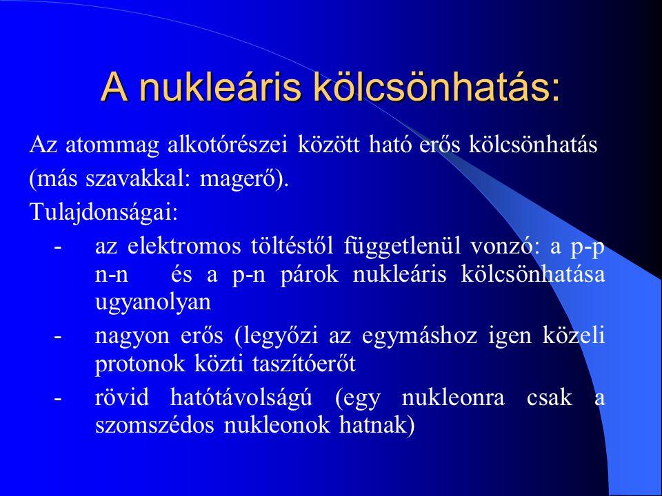 A nukleáris kölcsönhatás: Az atommag alkotórészei között ható erős kölcsönhatás (más szavakkal: magerő). Tulajdonságai: - az elektromos töltéstől függ