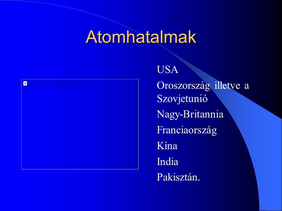 Atomhatalmak USA Oroszország illetve a Szovjetunió Nagy-Britannia Franciaország Kína India Pakisztán.