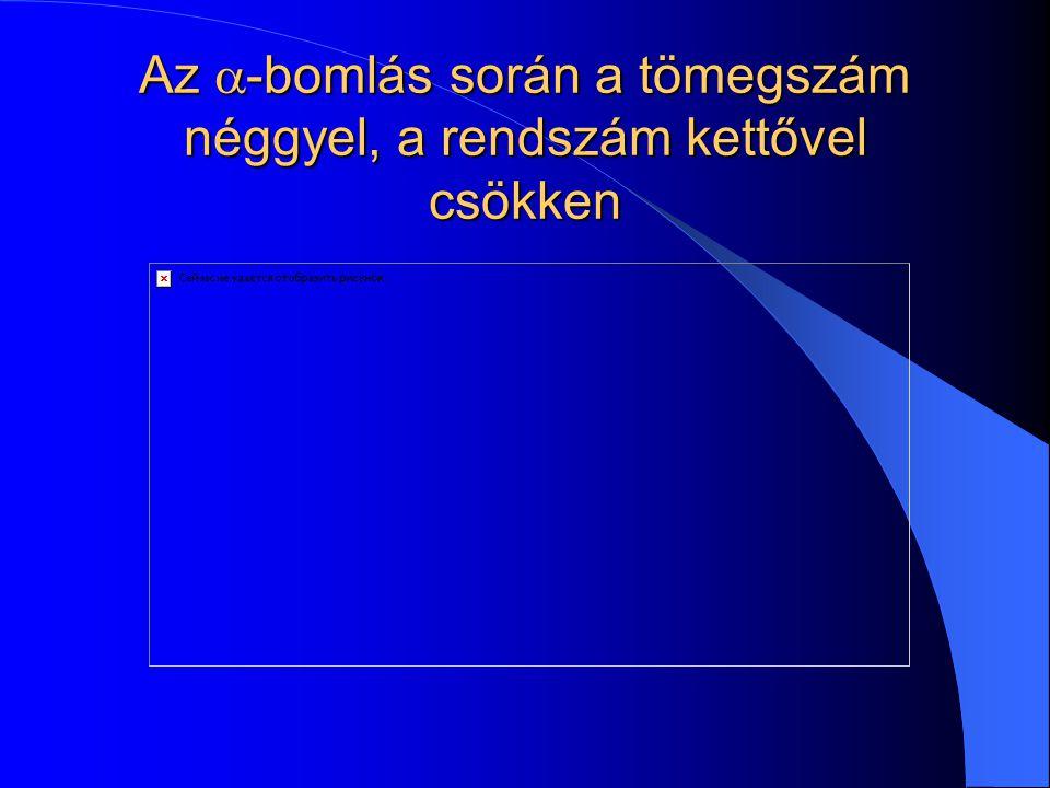 A radioaktív bomlástörvény Ha a t=0 időpillanatban a radioaktív magok száma N 0, akkor t idő elteltével N(t) = N 02 -t/T olyan atommag van, ami még nem bomlott el.