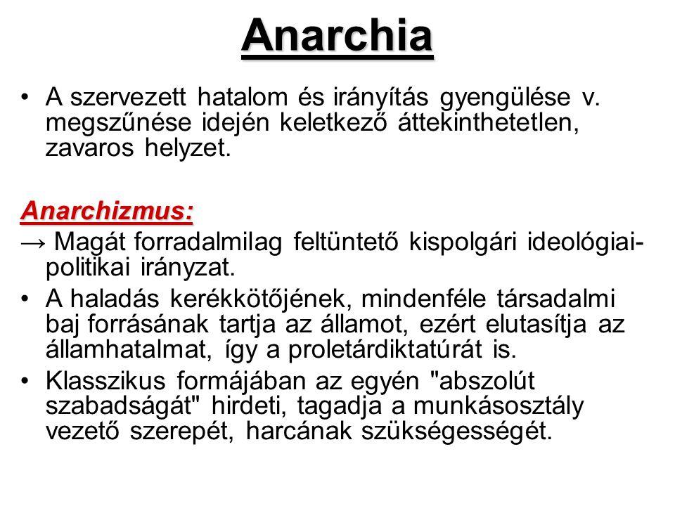 Anarchia A szervezett hatalom és irányítás gyengülése v. megszűnése idején keletkező áttekinthetetlen, zavaros helyzet.Anarchizmus: → Magát forradalmi