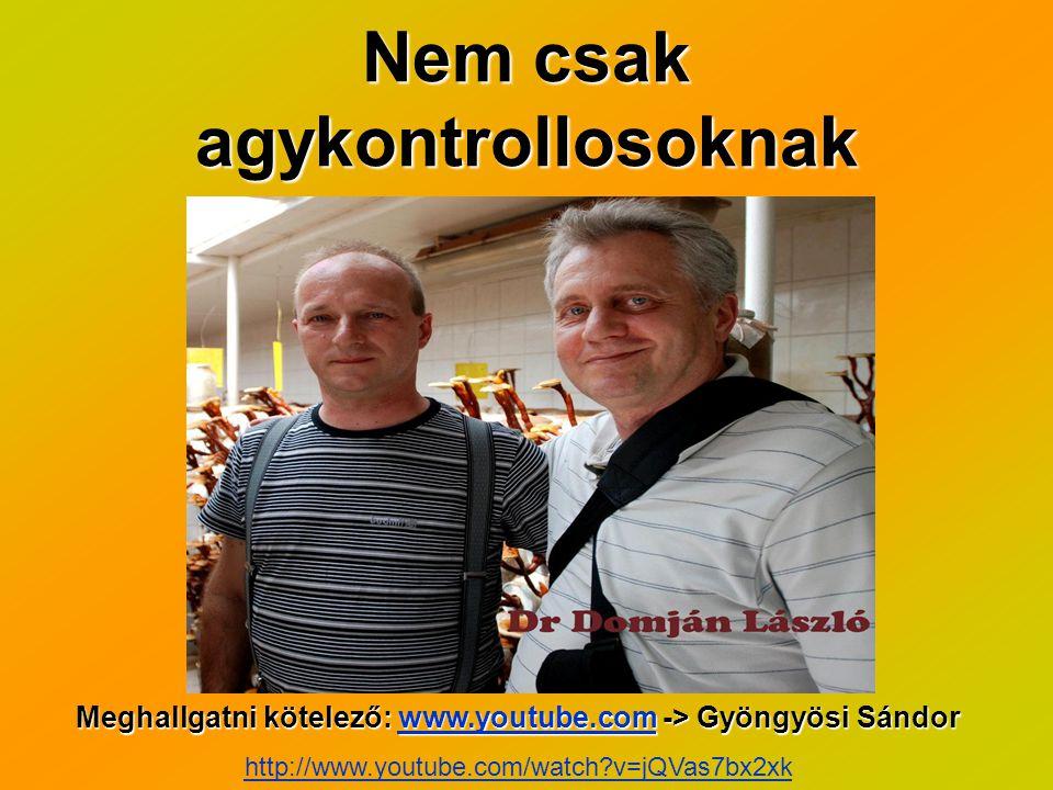 Nem csak agykontrollosoknak Meghallgatni kötelező: www.youtube.com -> Gyöngyösi Sándor www.youtube.com http://www.youtube.com/watch?v=jQVas7bx2xk
