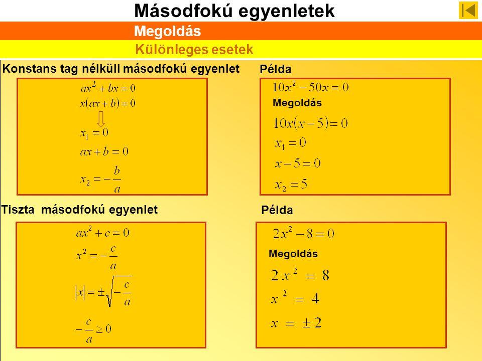 Másodfokú egyenletek Konstans tag nélküli másodfokú egyenlet Különleges esetek Megoldás Példa Megoldás Példa Megoldás Tiszta másodfokú egyenlet