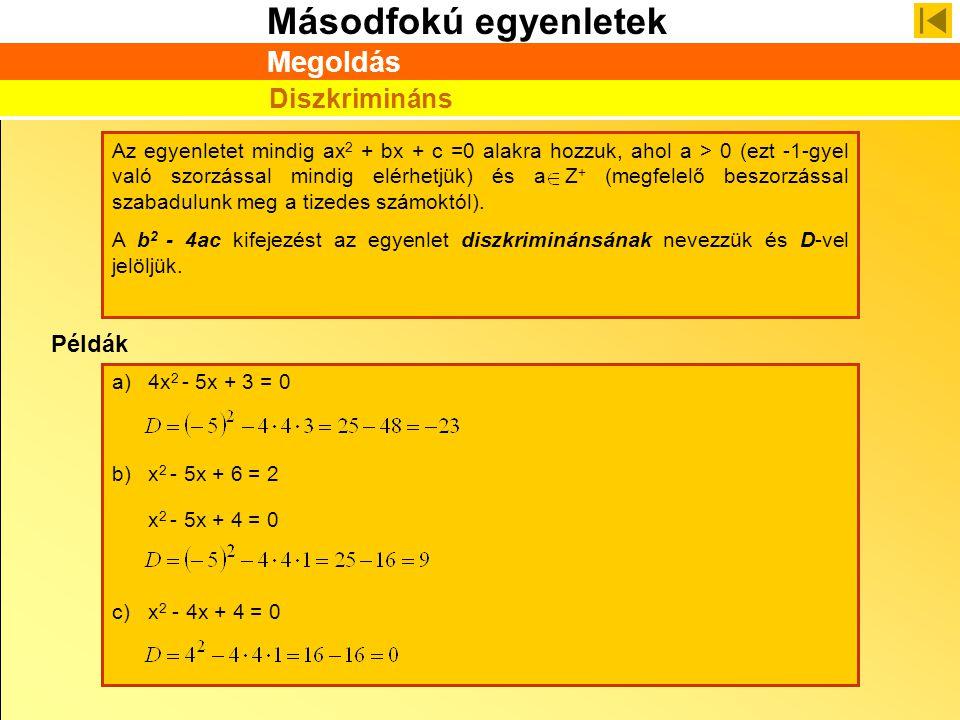 Másodfokú egyenletek Példák a)4x 2 - 5x + 3 = 0 b)x 2 - 5x + 6 = 2 x 2 - 5x + 4 = 0 c)x 2 - 4x + 4 = 0 Az egyenletet mindig ax 2 + bx + c =0 alakra ho