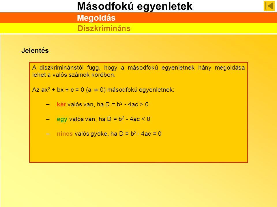 Másodfokú egyenletek Jelentés A diszkriminánstól függ, hogy a másodfokú egyenletnek hány megoldása lehet a valós számok körében. Az ax 2 + bx + c = 0