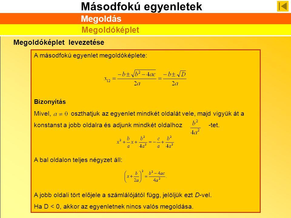Másodfokú egyenletek Megoldóképlet levezetése A másodfokú egyenlet megoldóképlete: Bizonyítás Mivel, oszthatjuk az egyenlet mindkét oldalát vele, majd