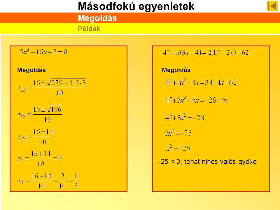 Másodfokú egyenletek Megoldás Példák -25 < 0, tehát nincs valós gyöke Megoldás