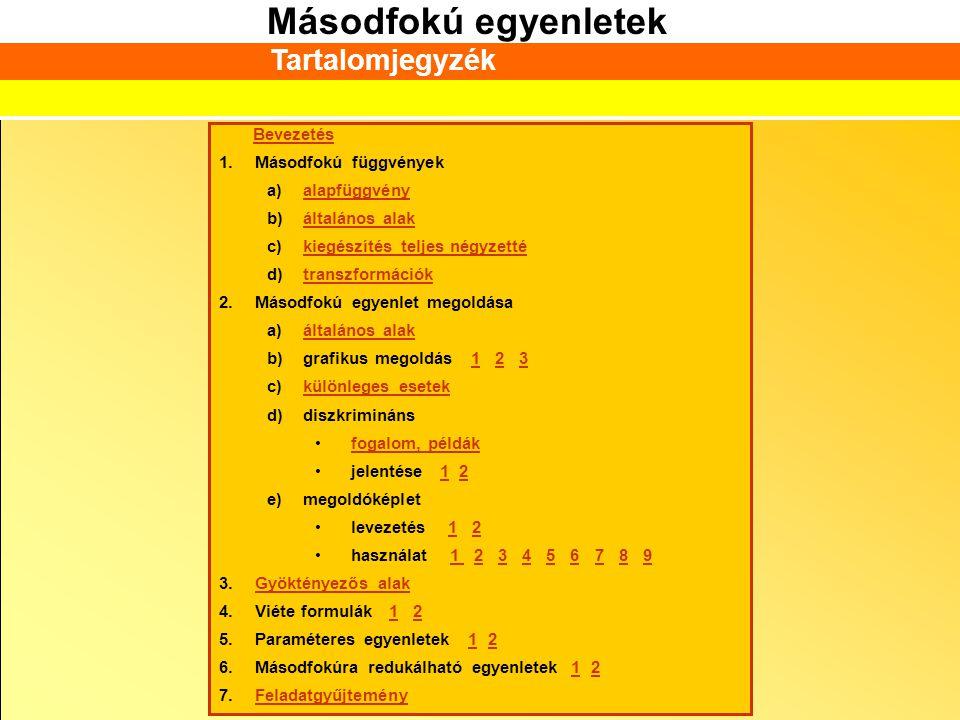 Másodfokú egyenletek Bevezetés 1.Másodfokú függvények a)alapfüggvényalapfüggvény b)általános alakáltalános alak c)kiegészítés teljes négyzettékiegészí