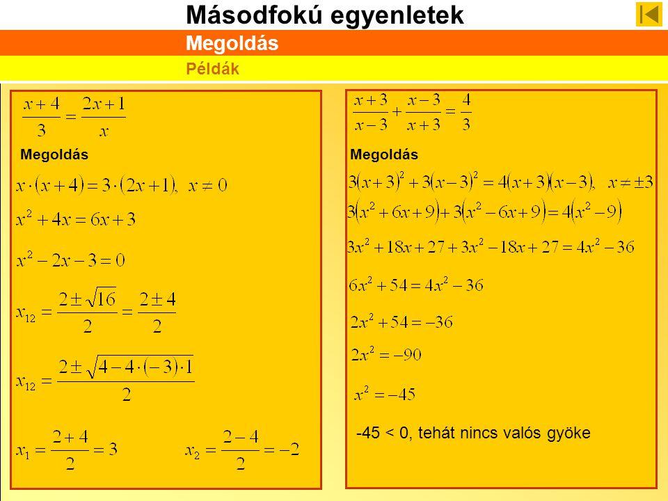 Másodfokú egyenletek Megoldás Példák Megoldás -45 < 0, tehát nincs valós gyöke