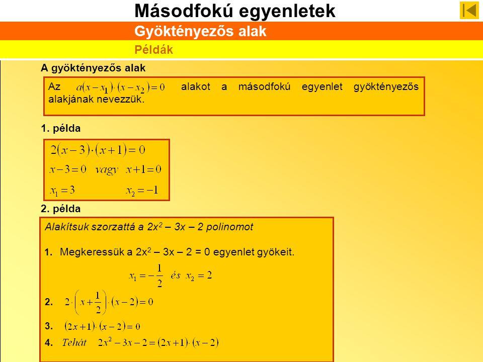 Másodfokú egyenletek A gyöktényezős alak Azalakot a másodfokú egyenlet gyöktényezős alakjának nevezzük. 1. példa 2. példa Alakítsuk szorzattá a 2x 2 –