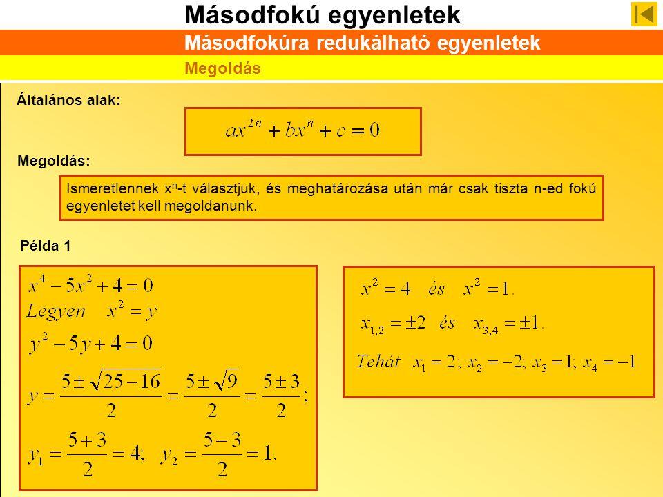 Másodfokú egyenletek Másodfokúra redukálható egyenletek Megoldás Általános alak: Megoldás: Példa 1 Ismeretlennek x n -t választjuk, és meghatározása u