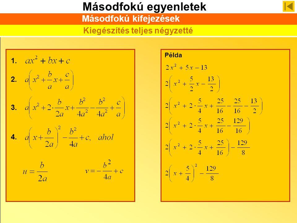 Másodfokú egyenletek Példa 1. Másodfokú kifejezések Kiegészítés teljes négyzetté 2. 3. 4.