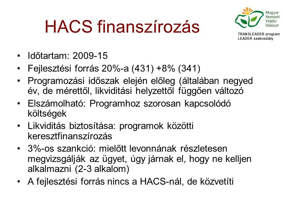 HACS finanszírozás Időtartam: 2009-15 Fejlesztési forrás 20%-a (431) +8% (341) Programozási időszak elején előleg (általában negyed év, de mérettől, likviditási helyzettől függően változó Elszámolható: Programhoz szorosan kapcsolódó költségek Likviditás biztosítása: programok közötti keresztfinanszírozás 3%-os szankció: mielőtt levonnának részletesen megvizsgálják az ügyet, úgy járnak el, hogy ne kelljen alkalmazni (2-3 alkalom) A fejlesztési forrás nincs a HACS-nál, de közvetíti TRANSLEADER program LEADER szakosztály