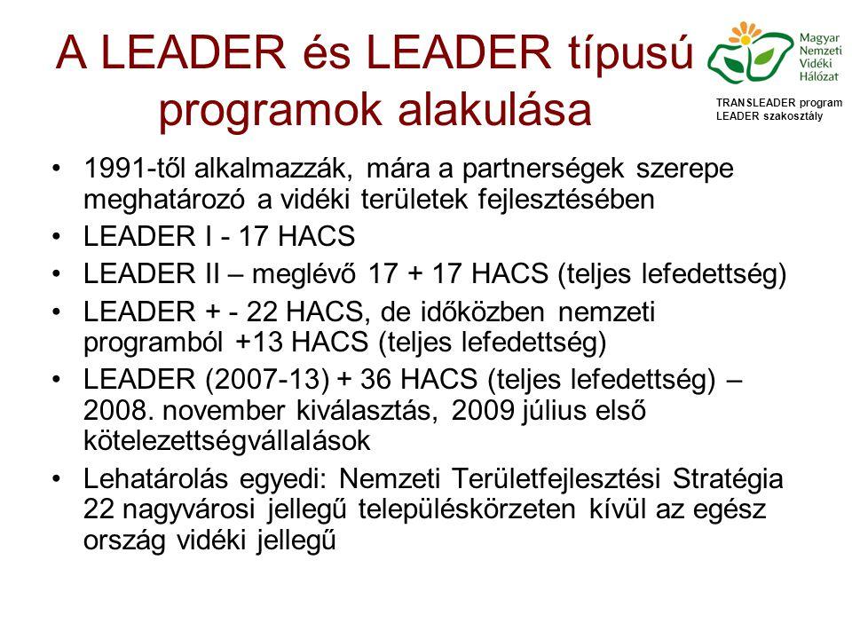 A LEADER és LEADER típusú programok alakulása 1991-től alkalmazzák, mára a partnerségek szerepe meghatározó a vidéki területek fejlesztésében LEADER I - 17 HACS LEADER II – meglévő 17 + 17 HACS (teljes lefedettség) LEADER + - 22 HACS, de időközben nemzeti programból +13 HACS (teljes lefedettség) LEADER (2007-13) + 36 HACS (teljes lefedettség) – 2008.