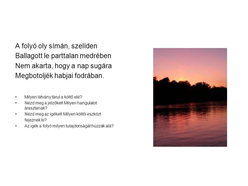 A folyó oly símán, szelíden Ballagott le parttalan medrében Nem akarta, hogy a nap sugára Megbotoljék habjai fodrában. Milyen látvány tárul a költő el