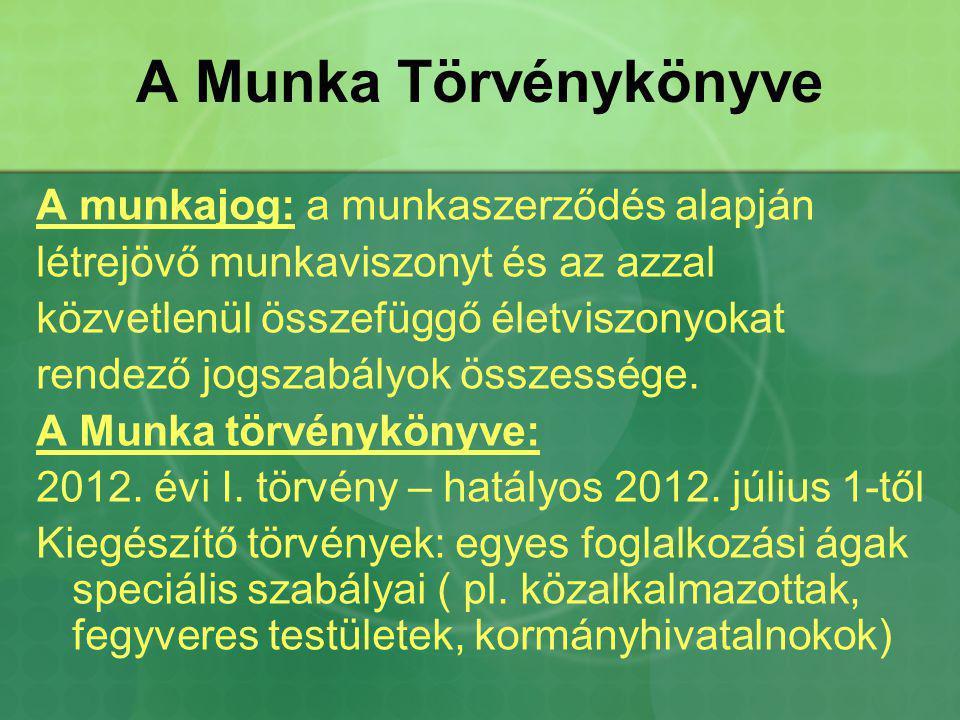 A Munka Törvénykönyve A munkajog: a munkaszerződés alapján létrejövő munkaviszonyt és az azzal közvetlenül összefüggő életviszonyokat rendező jogszabá