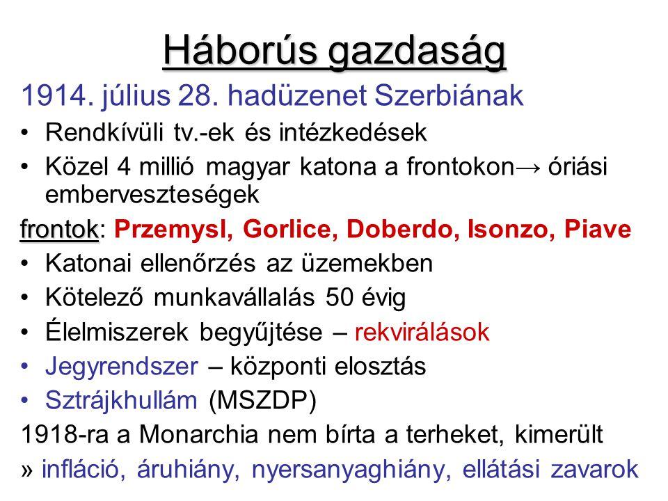 Háborús gazdaság 1914. július 28. hadüzenet Szerbiának Rendkívüli tv.-ek és intézkedések Közel 4 millió magyar katona a frontokon→ óriási embervesztes