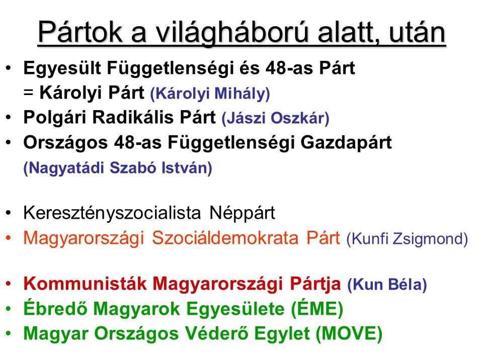 Pártok a világháború alatt, után Egyesült Függetlenségi és 48-as Párt = Károlyi Párt (Károlyi Mihály) Polgári Radikális Párt (Jászi Oszkár) Országos 4