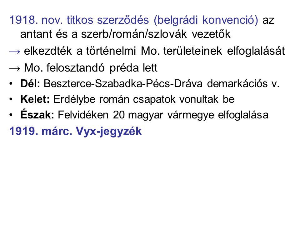 1918. nov. titkos szerződés (belgrádi konvenció) az antant és a szerb/román/szlovák vezetők → elkezdték a történelmi Mo. területeinek elfoglalását → M