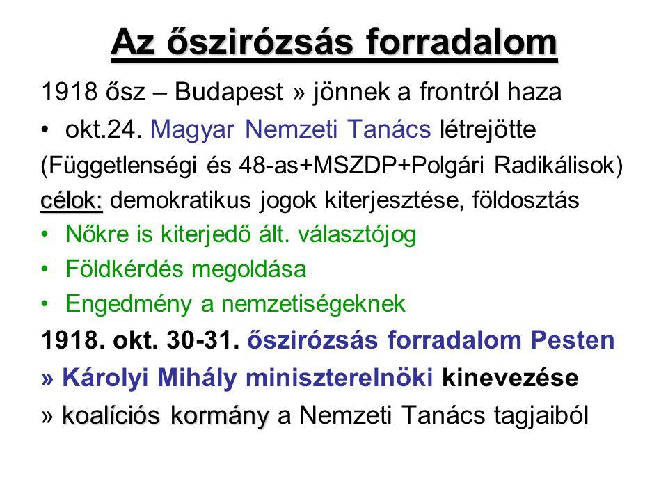 Az őszirózsás forradalom 1918 ősz – Budapest » jönnek a frontról haza okt.24. Magyar Nemzeti Tanács létrejötte (Függetlenségi és 48-as+MSZDP+Polgári R