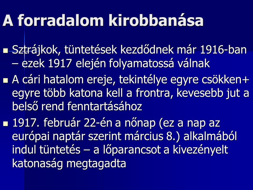 A forradalom kirobbanása Sztrájkok, tüntetések kezdődnek már 1916-ban – ezek 1917 elején folyamatossá válnak Sztrájkok, tüntetések kezdődnek már 1916-