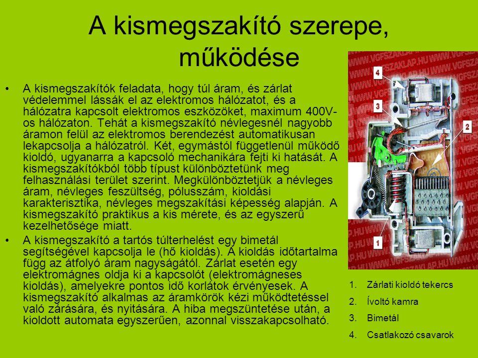 A kismegszakító szerepe, működése A kismegszakítók feladata, hogy túl áram, és zárlat védelemmel lássák el az elektromos hálózatot, és a hálózatra kap