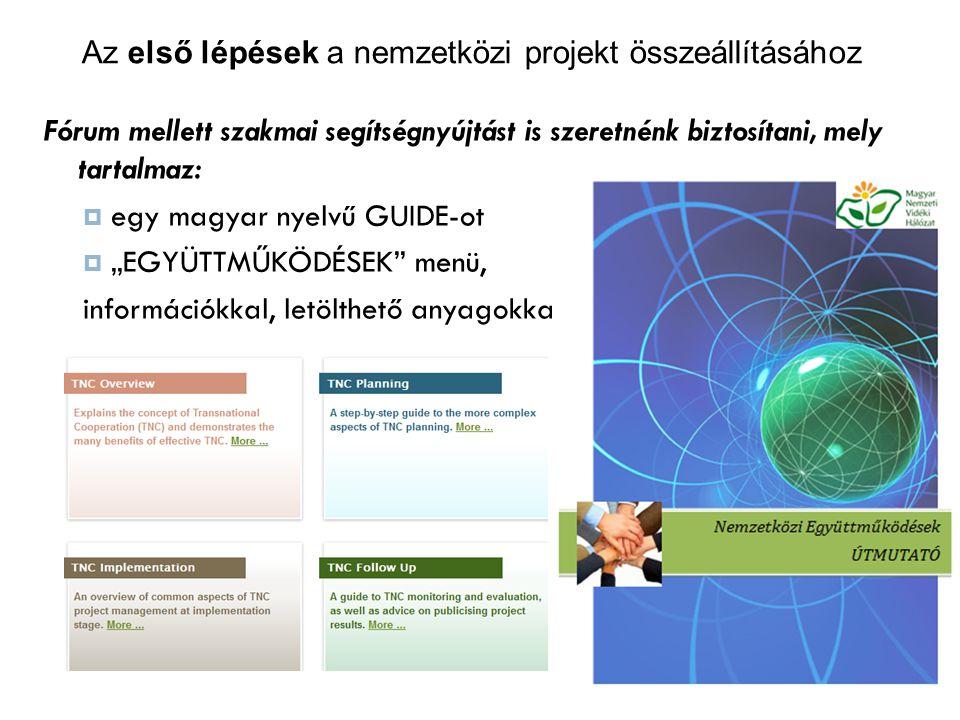 """Fórum mellett szakmai segítségnyújtást is szeretnénk biztosítani, mely tartalmaz:  egy magyar nyelvű GUIDE-ot  """"EGYÜTTMŰKÖDÉSEK menü, információkkal, letölthető anyagokkal Az első lépések a nemzetközi projekt összeállításához"""