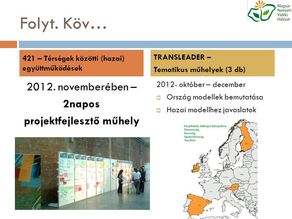 Folyt. Köv… 2012. novemberében – 2napos projektfejlesztő műhely 2012- október – december  Ország modellek bemutatása  Hazai modellhez javaslatok 421