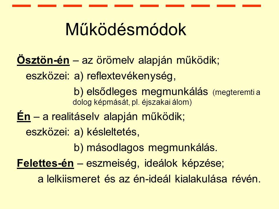Működésmódok Ösztön-én – az örömelv alapján működik; eszközei: a) reflextevékenység, b) elsődleges megmunkálás (megteremti a dolog képmását, pl.