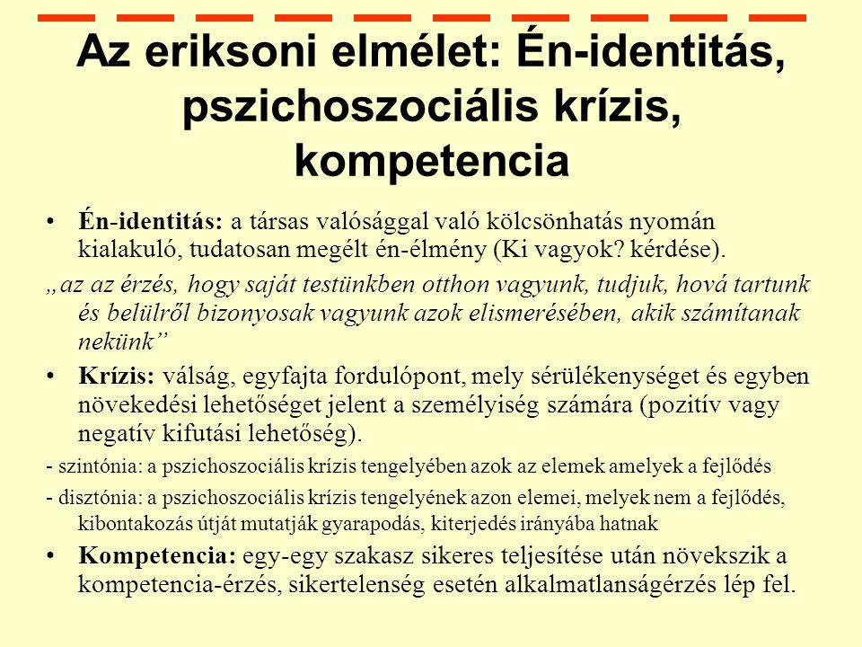 Az eriksoni elmélet: Én-identitás, pszichoszociális krízis, kompetencia Én-identitás: a társas valósággal való kölcsönhatás nyomán kialakuló, tudatosan megélt én-élmény (Ki vagyok.