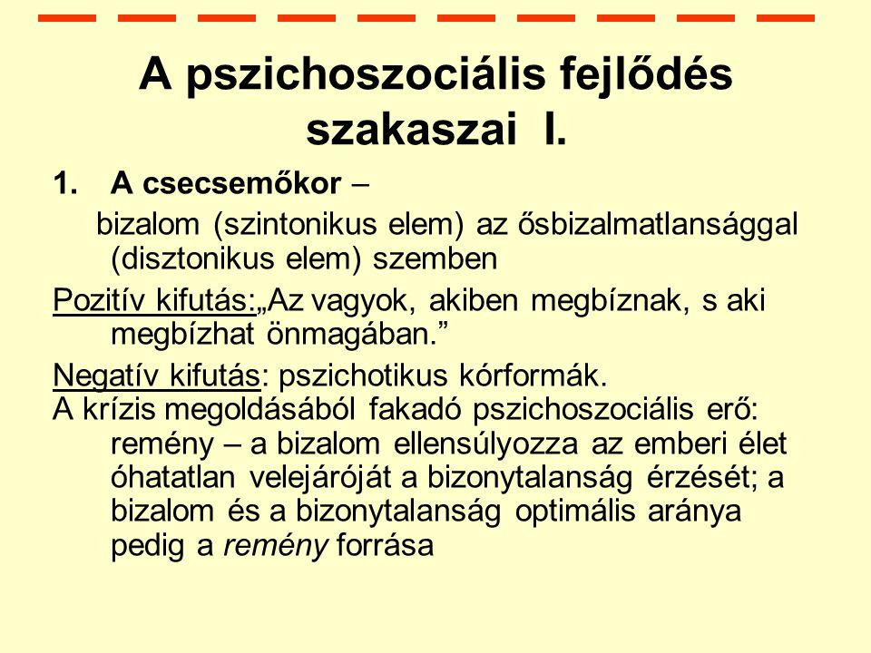 A pszichoszociális fejlődés szakaszai I.