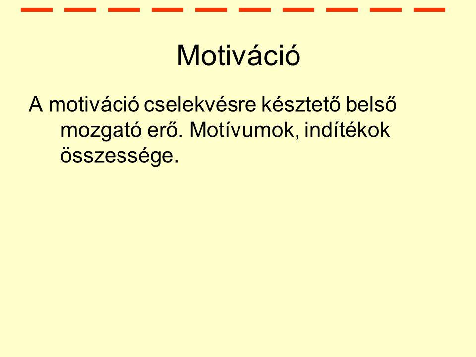 Motiváció A motiváció cselekvésre késztető belső mozgató erő. Motívumok, indítékok összessége.