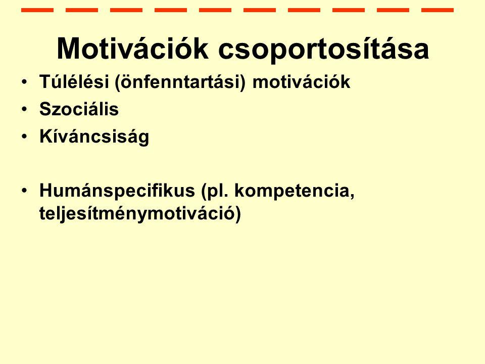 Motivációk csoportosítása Túlélési (önfenntartási) motivációk Szociális Kíváncsiság Humánspecifikus (pl.