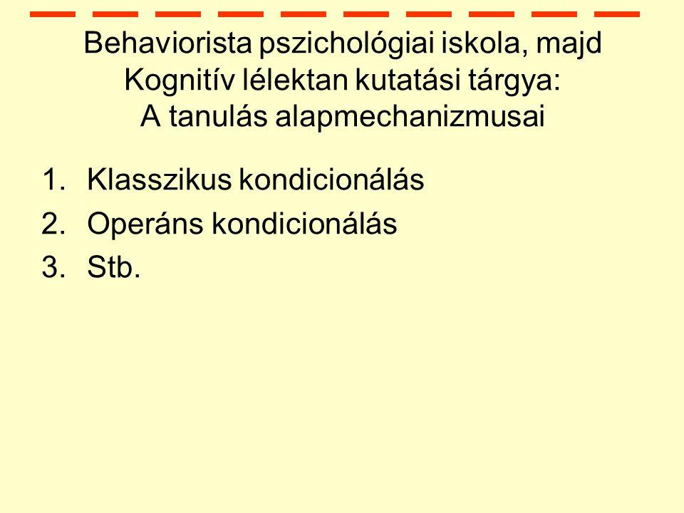 Behaviorista pszichológiai iskola, majd Kognitív lélektan kutatási tárgya: A tanulás alapmechanizmusai 1.Klasszikus kondicionálás 2.Operáns kondicionálás 3.Stb.