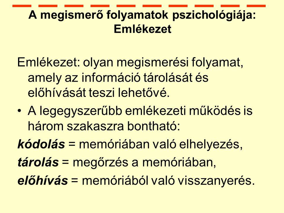 A megismerő folyamatok pszichológiája: Emlékezet Emlékezet: olyan megismerési folyamat, amely az információ tárolását és előhívását teszi lehetővé.